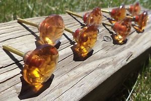 "8 Amber 1"" Drawer Pulls Glass Knobs Cabinet Dresser Hoosier C Free SHIP USA"