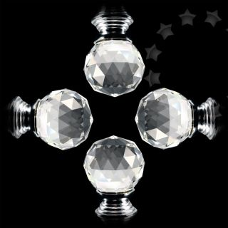 4pcs 30mm Kitchen Cabinet Crystal Glass Clear Cut Door Knob Pull Handle Set G72