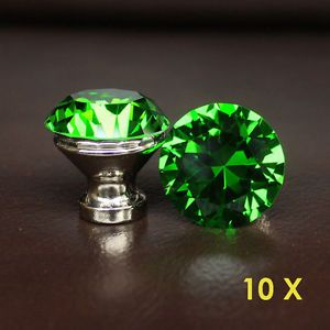 10 Pcs Green Crystal Glass Drawer Knobs Handle Pulls Bed Room Cabinet
