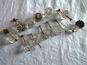 "Antique Vtg Depression Era Crystal Glass Drawer Knobs Set 6 1 1 8"" 1 1 2"" Etc"