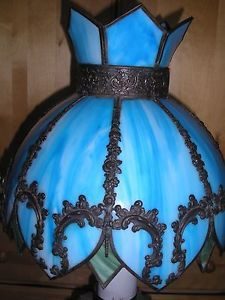 Antique Blue Slag Glass Art Nouveau Lamp Shade