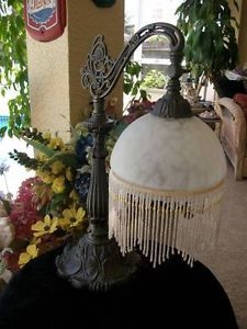 Vintage Victorian Style Bronze Look Table Lamp Art Glass Shade Glass Beads