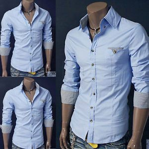 New Luxury Stylish Mens Casual Slim Fit Long Sleeve Dress Shirts Sky Blue XXL