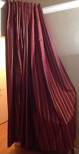 "Red Burgundy Gold Striped Grommet Curtains Four Panels Total 54 x 96"" World MKT"
