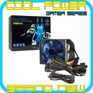 1080 Watt ATX Power Supply 140mm LED Fan PCI Express SATA 20 4 Pin by Cool Power