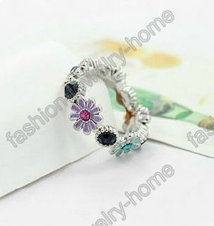 Hot Mixed Crystal Daisy Gold Silver Plated Rings