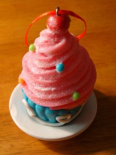 Pink Cupcake Candy Christmas Tree Ornament Cake Bakery Kitchen Baker Decor New