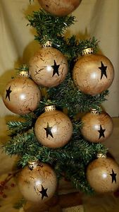 Primitive not Wood Glass Ball Christmas Tree Ornaments Tan Crackle Country Decor