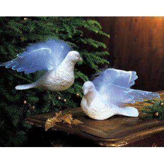 New Set of 2 Fiber Optic Doves Christmas Tree Sculpture Ornaments Holiday Decor