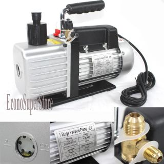Single Stage Gas HVAC AC 4 8CFM 1 3HP Rotary Vane Vacuum Pump R134a R22 R410A