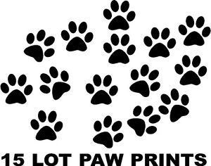 "Dog Cat Animal Pet Paw Prints 15 Lot 3"" Vinyl Wall Decals Stickers Home Decor"
