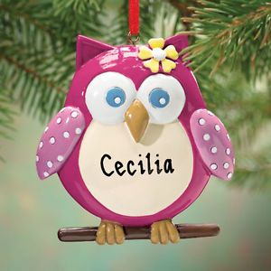 Personalized w Name Sweet Pink Owl Resin Ornament Christmas Tree Decor New