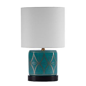 "Port 68 Turquoise Blue Gold Zelda Porcelain Accent Table Lamp 16"" High"