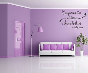 Everyone Is A Star Vinyl Wall Quote Decal Home Decor Art Marilyn Monroe Quotes