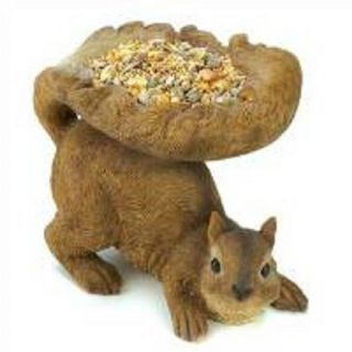 Woodland Squirrel Birdfeeder Garden Yard Art Patio Home Decor Statue Figurine