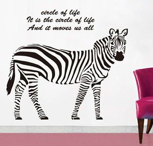 Zebra Wild Animals Home Art Wall Stickers Removable Vinyl Home Decor Decals