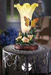 Butterfly Table Lamp Light Yellow Daffodil Glass Shade Home Decor New B0951
