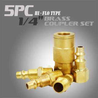 5 PC Quick Coupler Air Hose Connector Set Compressor Tools Brass High Flow HD