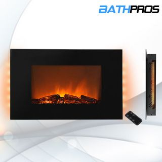 "Electric Wall Mount Backlight Fireplace 36"" Glass w Remote Control Heater 520ECL"