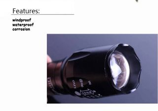 Black 1800 Lumen Zoom CREE XM L T6 LED Flashlight Torch Lamp Light 18650 3 AAA
