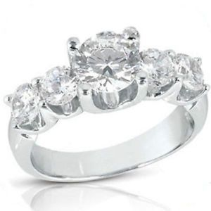 "1 71 Carat 5 Round Diamond Engagement Ring Wedding Band 1 01 Ct Center ""U"" Shape"