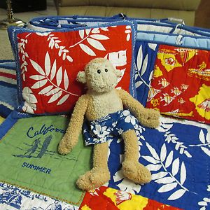 Pottery Barn Kids Island Surf Patchwork Hawaii Aloha Crib Bedding Monkey