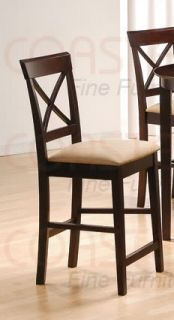 One Solid Wood Cross Back Counter Stool in Cappuccino