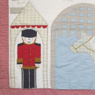 Boys Kids Bedding Toy Soldier Guard Red Blue Patchwork Quilted Bedspread