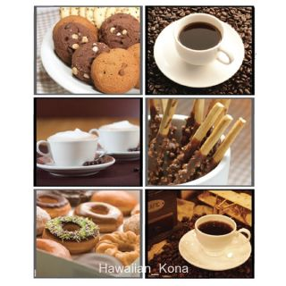 Coffee Tea Cookie Donut PVC Wall Kitchen Cabinet Glass Doors Sticker Decal