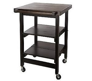 Folding Island Kitchen Cart w Butcher Block Style Top on Wheels K37248 Mocha