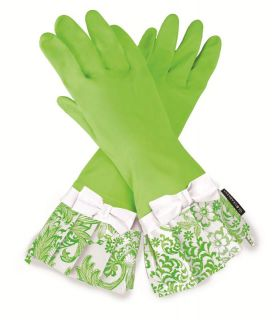 Gloveables Grandway Rubber Cleaning Gloves Lime Green Retro Gardening Kitchen