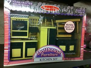 Melissa Doug Wooden Doll Furniture Kitchen Set 2582 RARE