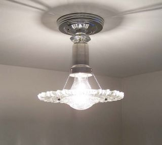 30's Art Deco Vintage Ceiling Lamp Light Glass Shade Fixture Chandelier