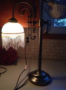 Victorian Art Deco Bridge Lamp Glass Shade Bead Fringe Metal Base Table Boudoir