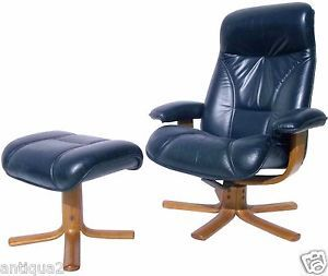 Mid Century Modern Norwegian Leather Recliner Chair Ottoman Hjellegjerde Mobler