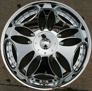"Bigg Tripp 514 24"" Chrome Rims Wheels Nissan Titan Pickup Truck 24 x 10 6H 30"