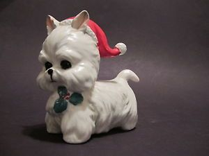 Vtg Lefton Christmas Westie Terrier Puppy Dog Figurine with Santa Hat 7069