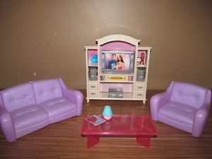 Barbie Happy Family Home Dollhouse House Living Room Couch Chair Furniture Lot