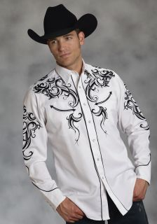 Roper Mens Western Shirt Hurricane Twill Cotton Long Sleeve White 0342