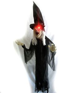 Lifesize Talking Witch Lighted Eyes Hanging Haunted House Prop 5 Feet Long