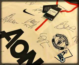 Manchester United Genuine Signed Away Jersey Original Autographed Shirt COA