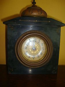 Antique Victorian Black Marble Mantle Clock 1880