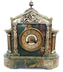 Antique French 8 Day Mantle Clock Architectul Green Onyx Marble Mantle Clock