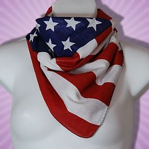 "Stars Stripes USA American Flag Bandana Scarf 26"" New"