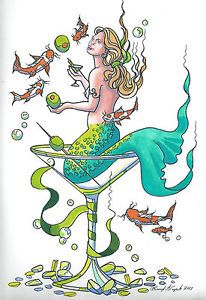 Mermaid in A Glass Martini Mermaid Original Fantasy Figure Art Painting