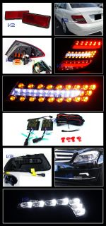 08 11 Benz C Class W204 Red Smoke LED Light Bar Tail Lights SMD LED Fog Lamp DRL
