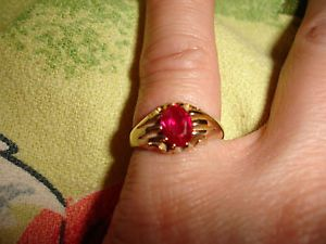 Antique 18K Yellow Gold Victorian Ring Belcher Claw Prong Ruby Red 3 9 Grams