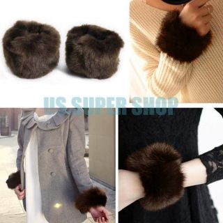 1 Pair Womens Winter Faux Fur Short Wrist Arm Warmer Cuff Wristband Hand Muff