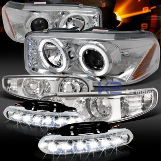 99 06 GMC Sierra Denali Projector Headlights Bumper Lamps LED Driving Fog Strips