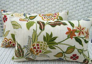 Set of 2 Ivory Red Green Gold Floral in Outdoor Rectangle Lumbar Throw Pillows